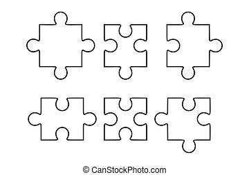 puzzle, morceaux, vecteur, plat