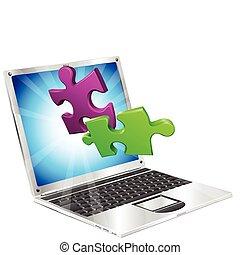 puzzle, morceaux, voler, dehors, de, ordinateur portatif