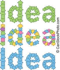 puzzle, mot, idée