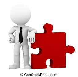 puzzle., negócio, isolado