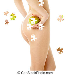 naked woman with green apple - puzzle of naked woman with ...