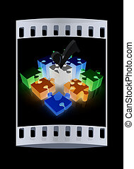 Puzzle of the four elements. Conceptual image - a palette CMYK. The film strip