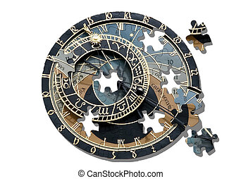 Puzzle ofAstronomical clock in Prague - Isolated...