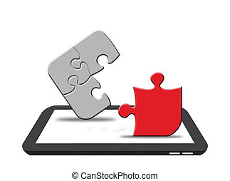 Puzzle on Digital Tablet