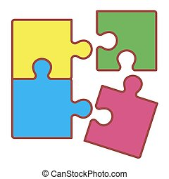 Puzzle on white background. Vector illustration in trendy flat style. ESP 10.