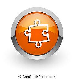 puzzle orange glossy web icon