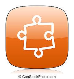 puzzle orange square web design glossy icon