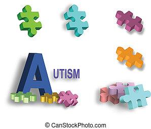 puzzle, page, autism, clair, morceaux