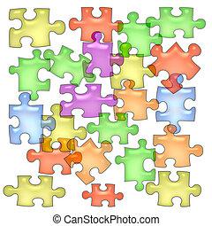 puzzle, papier, gelée
