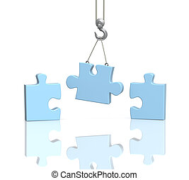 Puzzle - Part puzzle on hook elevating crane. Object over ...