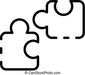 Puzzle parts icon, outline style