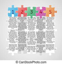 puzzle, -, pezzi, cinque, infographics, passi
