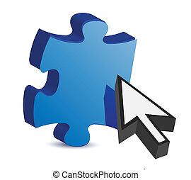 puzzle piece and a cursor