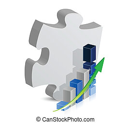 puzzle piece and blue business graph.