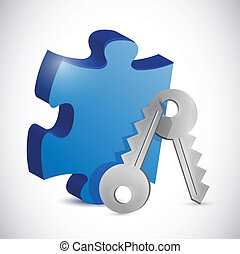 puzzle piece and keys. illustration design