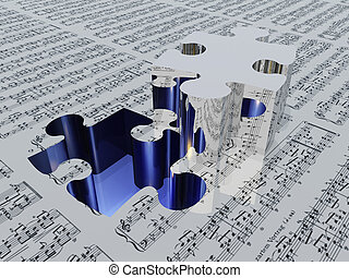 Puzzle piece and muic notation Sheet music is proviede with 3D software used to create this image and no realese is needed