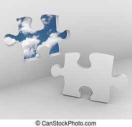 Puzzle Piece - Blue Sky Opening - A puzzle piece in a wall ...