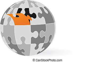 Puzzle piece globe