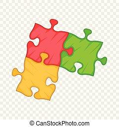 Puzzle piece icon, cartoon style