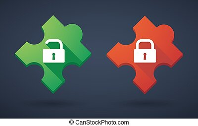 Puzzle piece icon set with lock pads