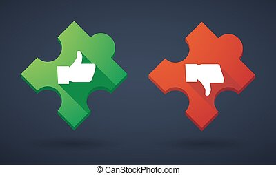 Puzzle piece icon set with survey icons