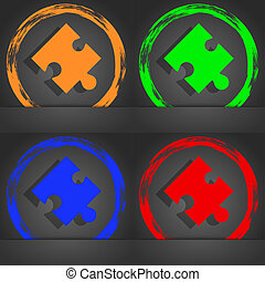 Puzzle piece icon sign. Fashionable modern style. In the orange, green, blue, red design.