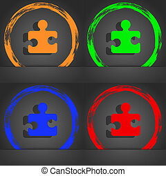 Puzzle piece icon symbol. Fashionable modern style. In the orange, green, blue, green design.