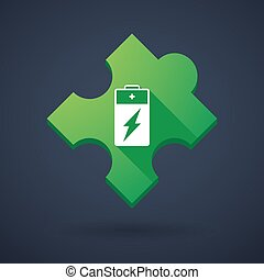 Puzzle piece icon with a battery