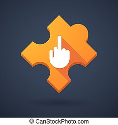 Puzzle piece icon with a hand