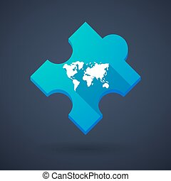 Puzzle piece icon with a world map