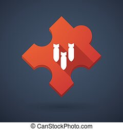 Puzzle piece icon with bombs