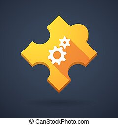 Puzzle piece icon with gears