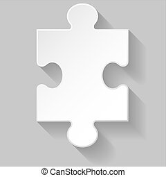 Puzzle piece - White puzzle piece with long shadow on grey...