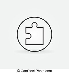 Puzzle Piece in Circle vector concept icon in line style