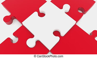 Puzzle piece in white on red color