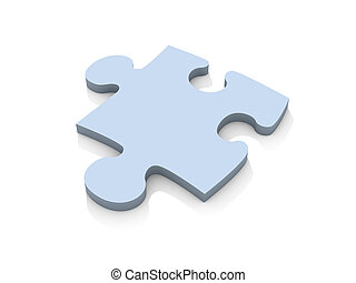 Puzzle piece - iso - 3D Illustration of a Puzzle Piece.