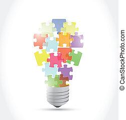 puzzle piece light idea bulb. illustration design over a ...