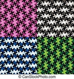 Puzzle Piece Patterns in Four Colorways