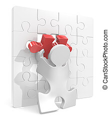 Puzzle Piece. - Puzzle People putting last piece in Puzzle...