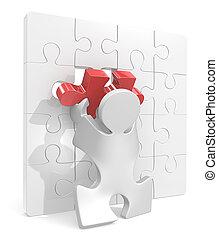 Puzzle Piece. - Puzzle People putting last piece in Puzzle...