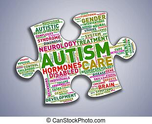 Puzzle piece shape autism wordcloud tags