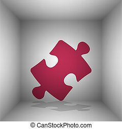 Puzzle piece sign. Bordo icon with shadow in the room.