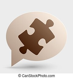 Puzzle piece sign. Brown gradient icon on bubble with shadow.