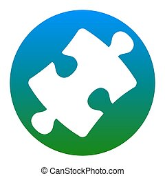 Puzzle piece sign. Vector. White icon in bluish circle on white background. Isolated.