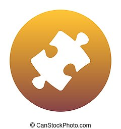 Puzzle piece sign. White icon in circle with golden gradient...