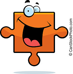 Puzzle Piece Smiling - A cartoon puzzle piece smiling and...