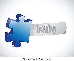 puzzle piece training sign illustration design over a white ...