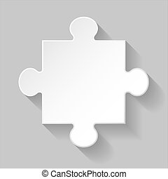 Puzzle piece - White puzzle element with long shadow on grey...