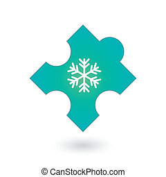 Puzzle piece with a snow flake