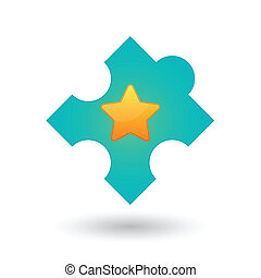 Puzzle piece with a star
